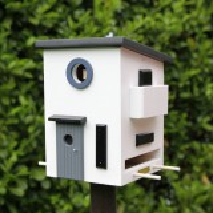 Kombineret fuglehus og foderbræt - funkis
