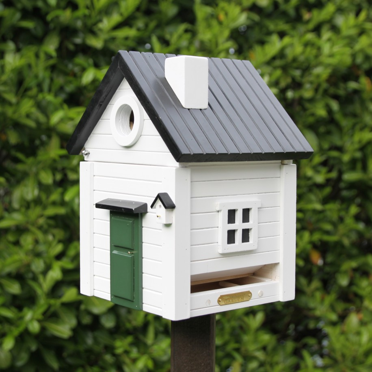 Kombineret fuglehus og foderbræt - hvid