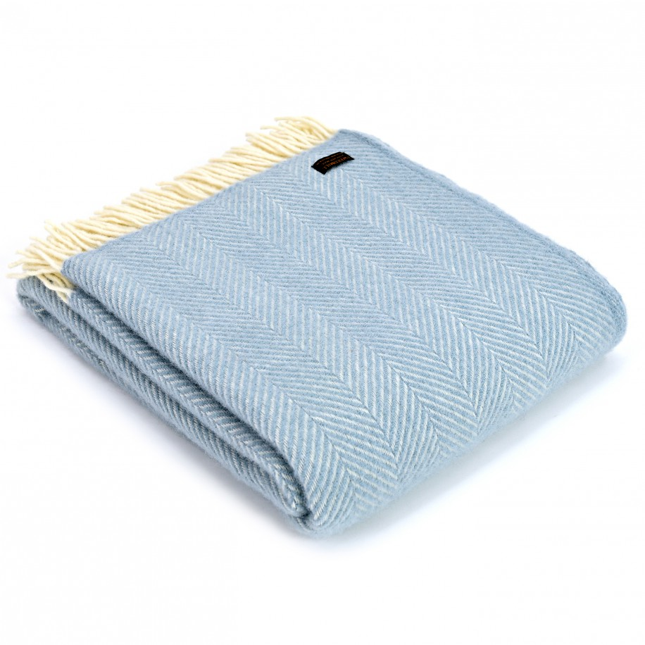 Tweedmill uldplaid - Fishbone Duck Egg