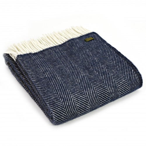 Tweedmill uldplaid - Fishbone Navy