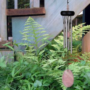 Woodstock vindspil, 30 cm - Ædelsten, rosenkvarts