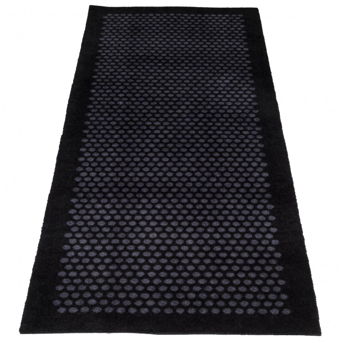 Tica dørmåtte/løber, 67x200 - Prikker, sort/grå