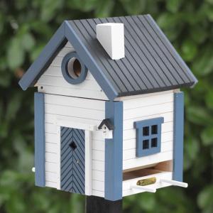 Wildlife Garden fuglehus/foderautomat - hvid/blå