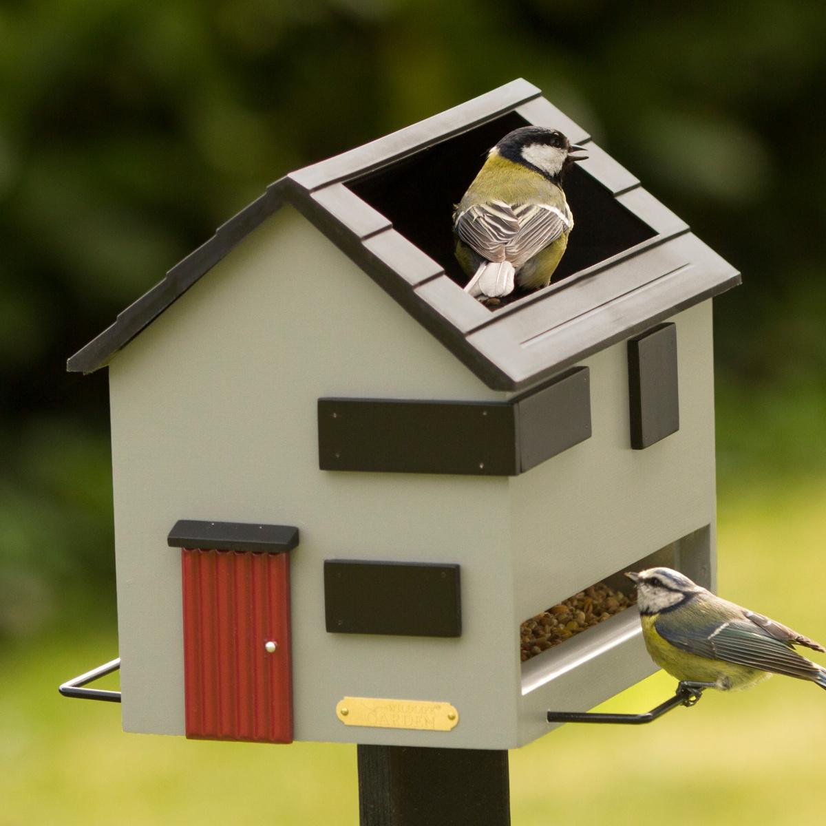 Wildlife Garden foderhus med fuglebad - grå, moderne