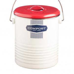 Typhoon kompostspand, 2,5 L - hvid/rød