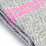 Tweedmill uldplaid - Fishbone Two Stripe Grey/Pink