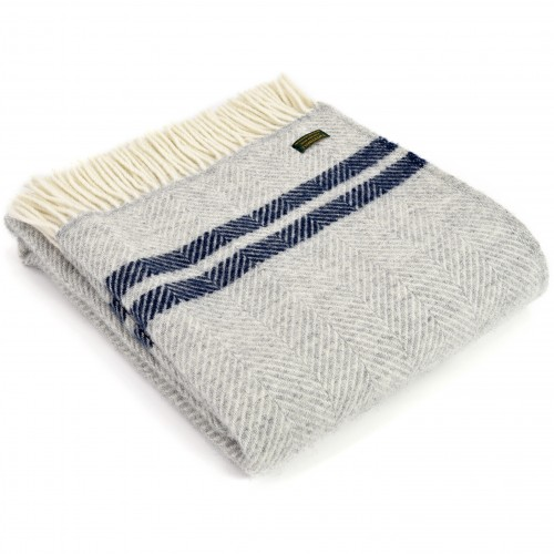 Tweedmill uldplaid - Fishbone Two Stripe Grey/Navy