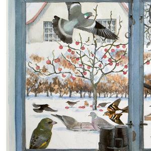 Koustrup & Co. kunsttryk i B2 - Fugle i vindue