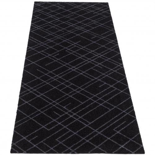 Tica dørmåtte/løber, 67x200 - Linjer, sort/grå