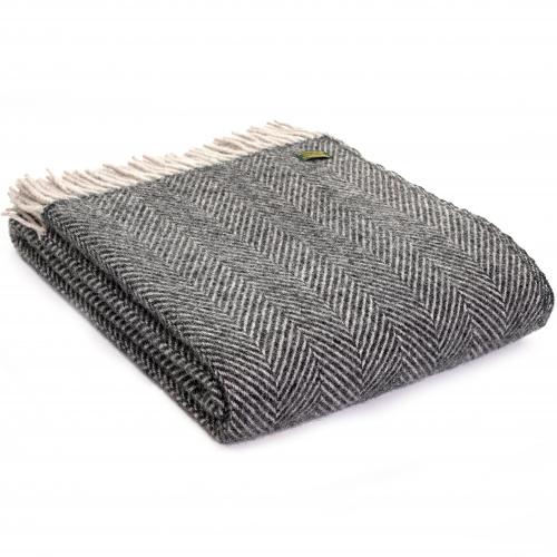 Tweedmill uldplaid - Herringbone Charcoal/Silver