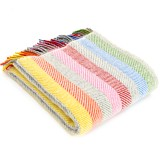 Tweedmill uldplaid - Stripe Rainbow Grey