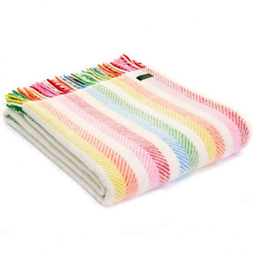 Tweedmill uldplaid - Stripe Rainbow