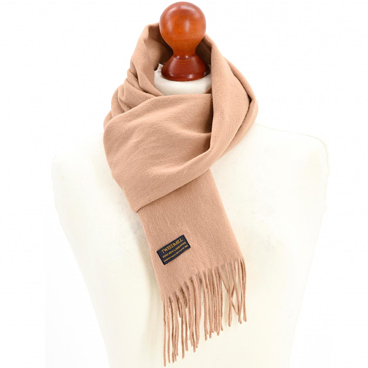 Tweedmill tørklæde i lammeuld - Camel