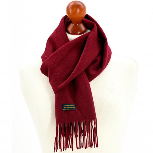 Tweedmill tørklæde i lammeuld - Wine