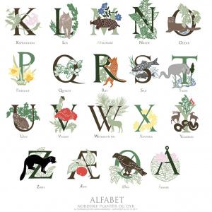Koustrup & Co. kunsttryk - alfabet, natur