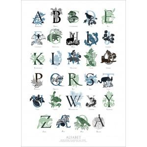 Koustrup & Co. kunsttryk - alfabet, grøn/blå