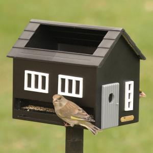 Wildlife Garden foderhus med fuglebad - sort