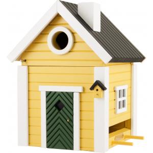 Kombineret fuglehus og foderbræt - gul