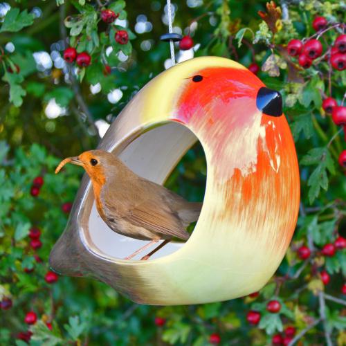 Wildlife World foderbræt i keramik - rødhals