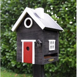 Kombineret fuglehus og foderbært - sort