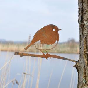 Metalbird fugl i cortenstål - rødhals