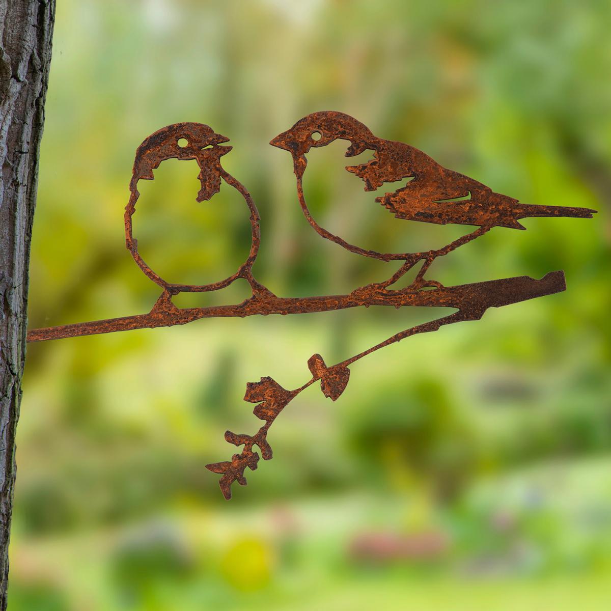 Metalbird fugl i cortenstål - gråspurve