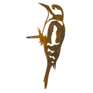 Metalbird fugl i cortenstål - stor flagspætte