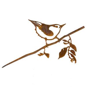 Metalbird fugl i cortenstål - spætmejse
