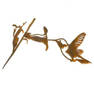 Metalbird fugl i cortenstål - kolibri