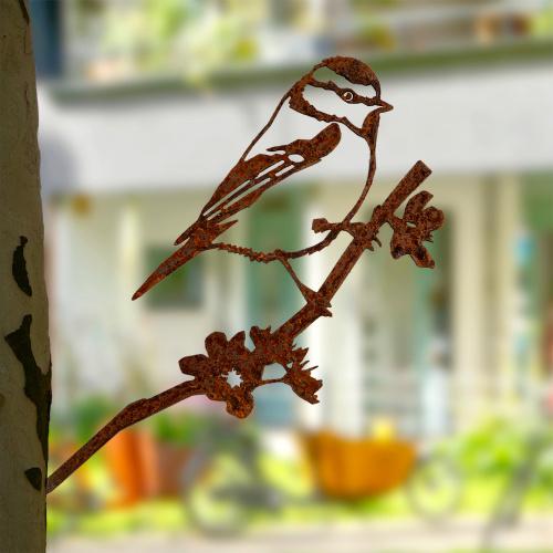 Metalbird fugl i cortenstål - blåmejse