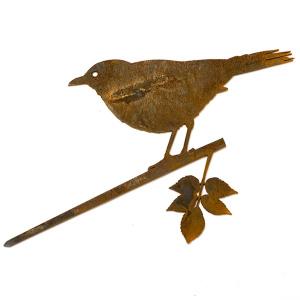 Metalbird fugl i cortenstål - solsort