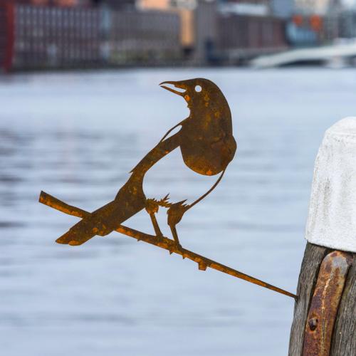 Metalbird fugl i cortenstål - husskade