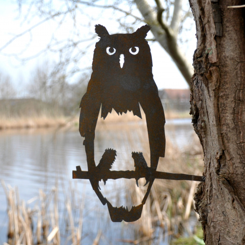 Metalbird fugl i cortenstål - ugle