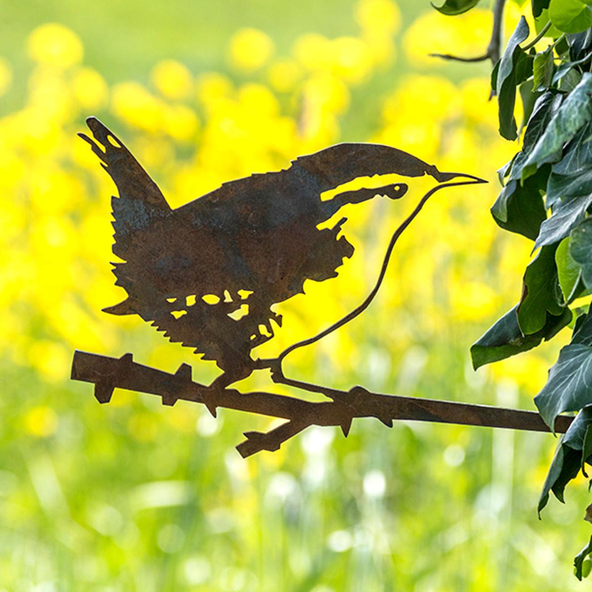 Metalbird fugl i cortenstål - gærdesmutte