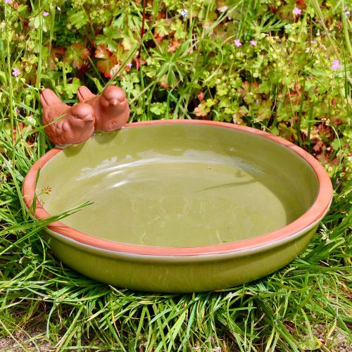 Wildlife World keramik fuglebad med fugle