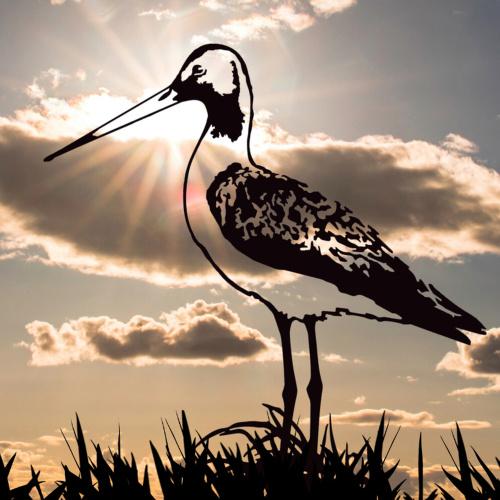 Metalbird fugl i cortenstål - kobbersneppe