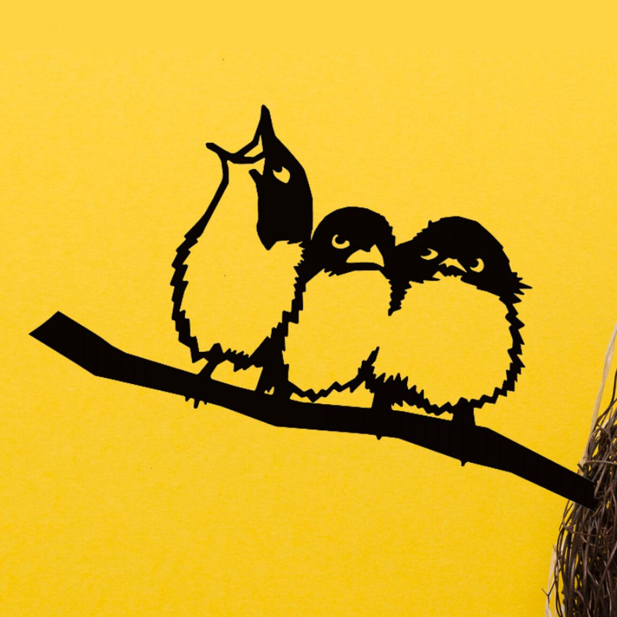 Metalbird fugl i cortenstål - tre små fugle