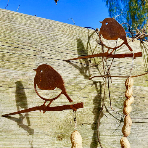 Metalbird fugl i cortenstål - rødhals, 3 stk.
