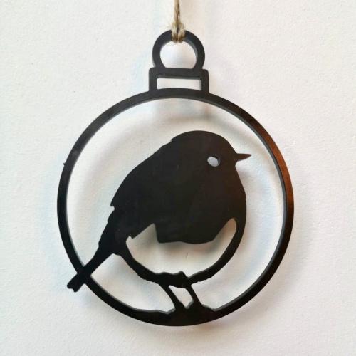 Metalbird fugl i cortenstål - rødhals ring, 2 stk.