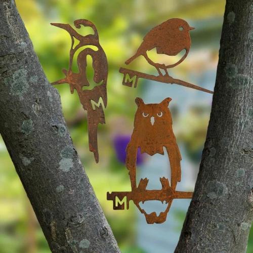Metalbird fugl i cortenstål - ugle, spætte, rødhals