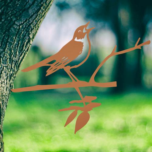 Metalbird fugl i cortenstål - nattergal